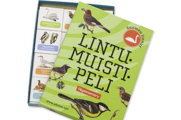 Lintumuistipelin laatikko on auki ja muistipelin kortit näkyvät.