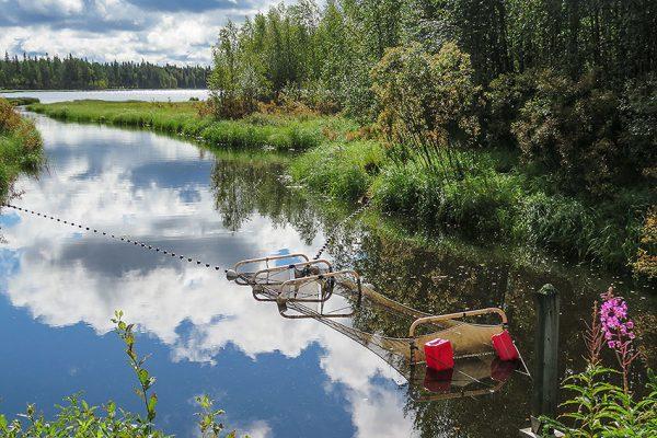 Kainuun kalatalouskeskuksen koekalastusrysä pyynnissä kesäisellä järvellä.
