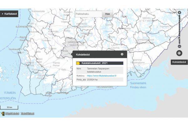 Kuvakaappaus kalatalousalueet kartalla palvelun nettisivulta.